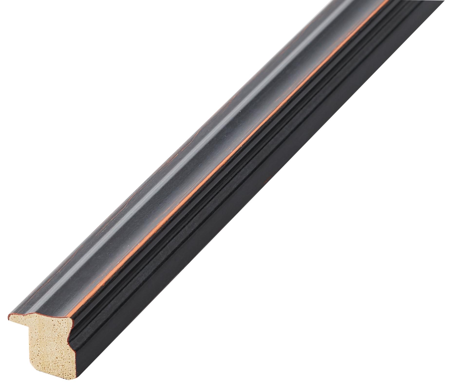 Moulding finger-joint pine Width 16mm Height 16, Black