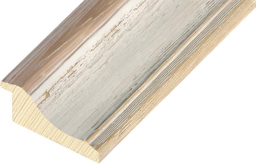 Moulding finger jointed pine Width 66mm - White-beige, shabby