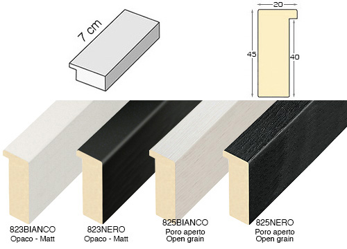 Complete set of straight samples of moulding 823