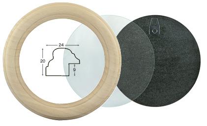 Cornice tonda in legno grezzo complete diametro cm 16 rinaldin cornici