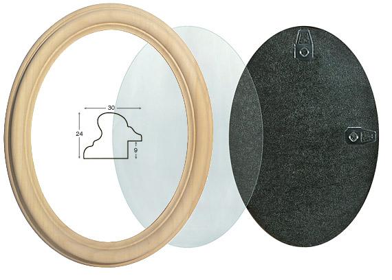 Cornice ovale in legno grezzo con vetro e schienale 18x24 rinaldin