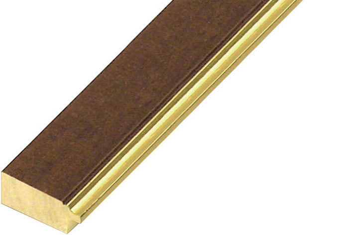 Moulding ramin 30mm - walnut with gold edge