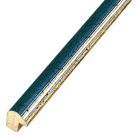 Moulding ayous 13mm - blue with golden edge