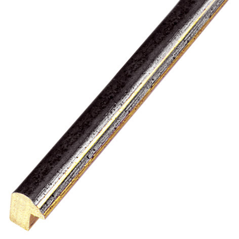Moulding ayous 13mm - black with golden edge