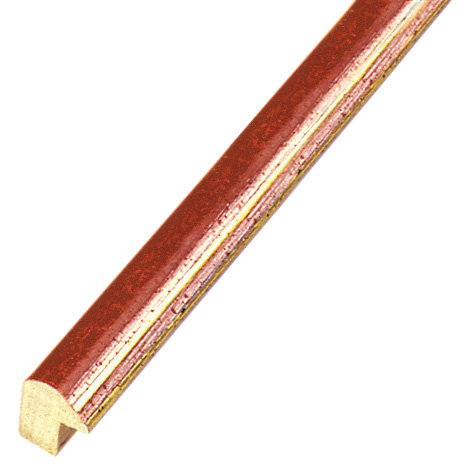 Moulding ayous 13mm - red with golden edge