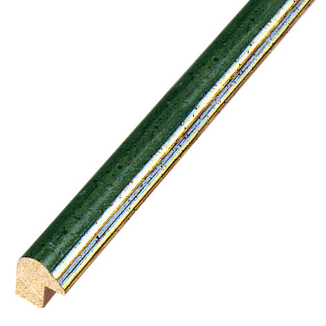 Moulding ayous 13mm - green with golden edge