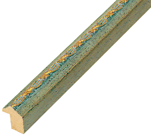 Moulding ayous 14mm - green, gold decorative relief