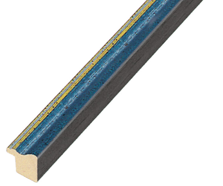 Moulding ayous width 15mm - matt blue with gold edge
