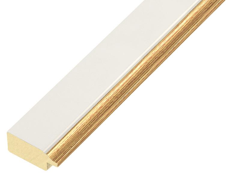 Liner pine 25mm - flat, white, gold edge