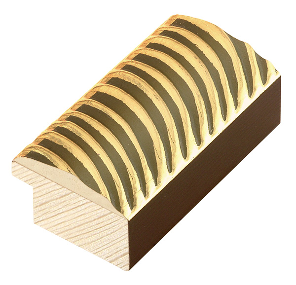 Moulding pine 39mm wide, with golden sinuous decorations