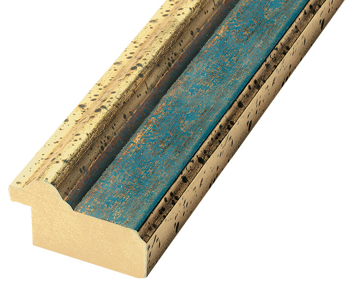 Moulding ayous 41mm - distressed gold with blue band