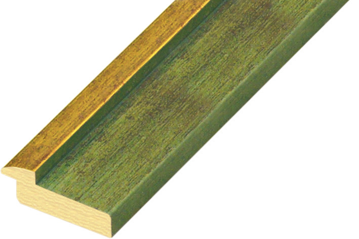 Moulding pine 39mm - green colour with gold edge