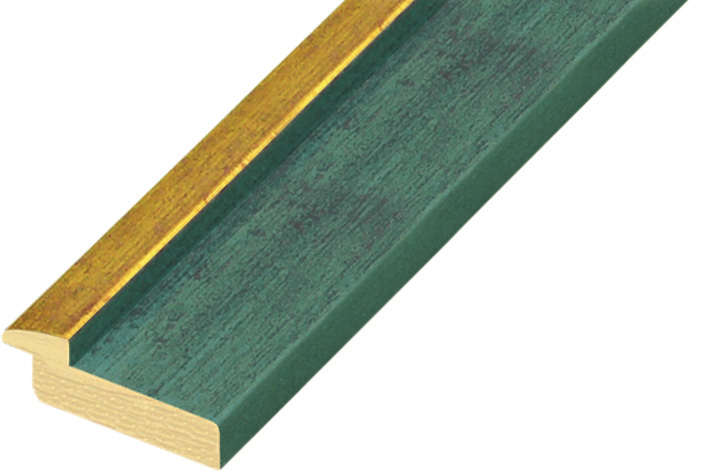 Moulding pine 39mm - blue colour with gold edge