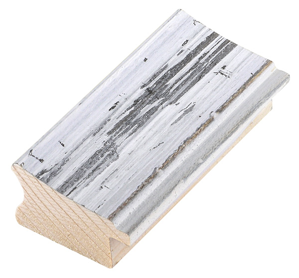 Moulding pine, width 40 mm, distressed white-grey