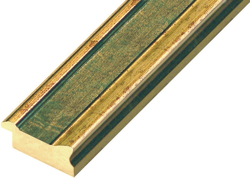Moulding ayous 40mm - stressed gold with green band
