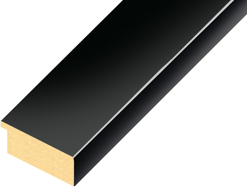 Moulding ayous, width 40mm height 16 - Glossy Black