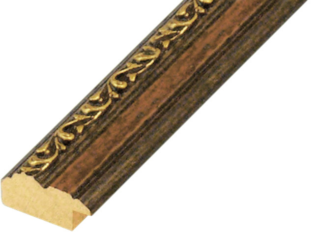 Moulding ayous 29mm - walnut with gold relief decorations