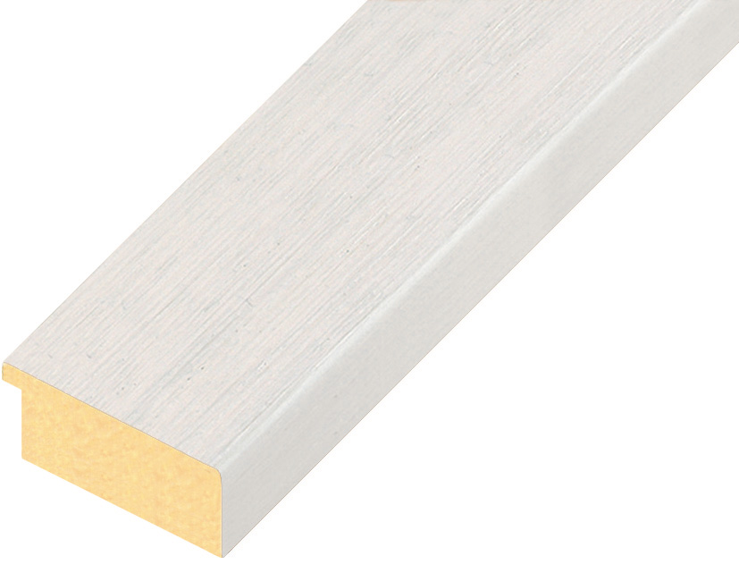 Moulding ayous, width 40mm height 16 - white, open grain