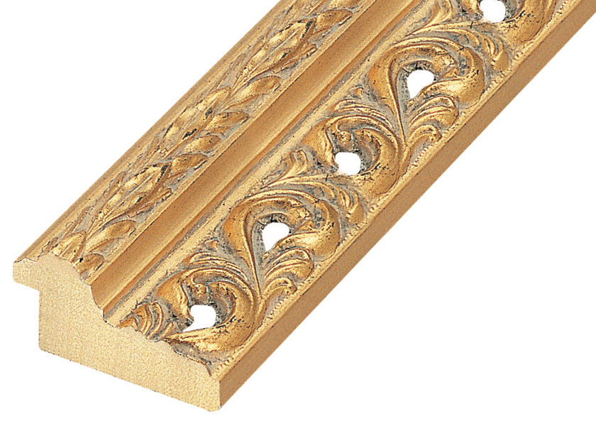 Moulding pine 48mm wide, gold with holes and decorations