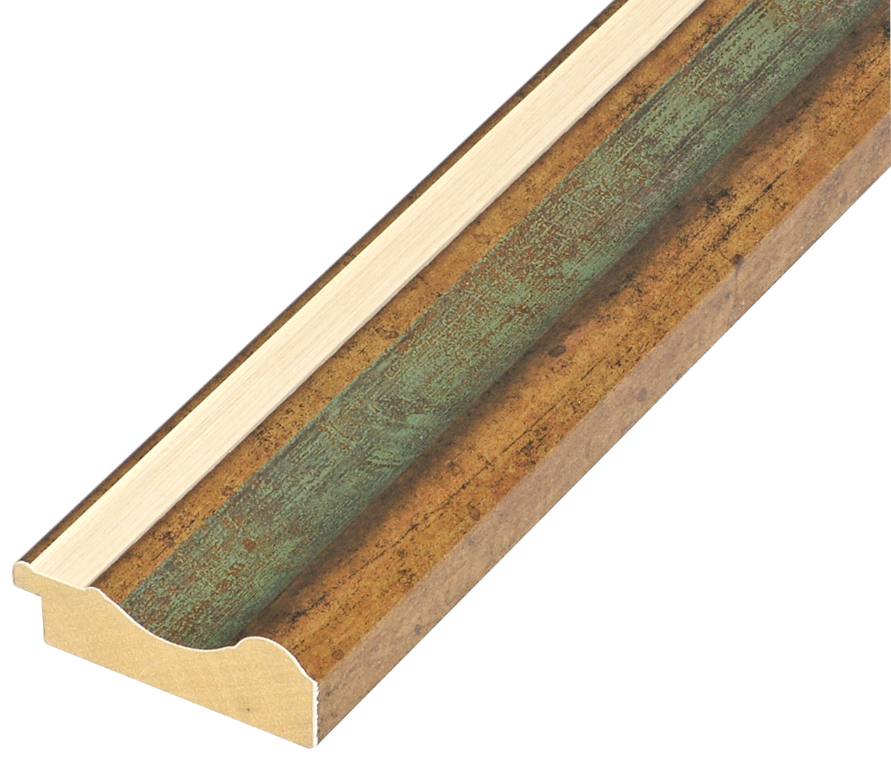 Moulding ayous - width 61mm height 20 - Gold, green band