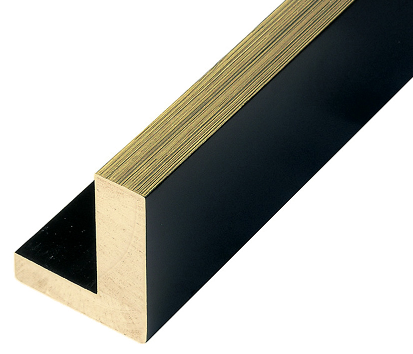 Moulding Jelutong L shape, Width 45mm Height 55 Black-Gold