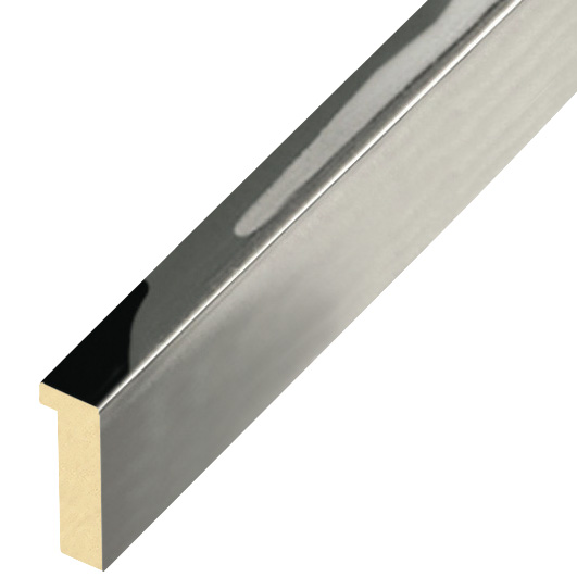 Moulding ayous, width 10mm, height 25mm - glossy silver