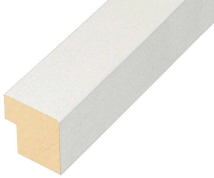 Moulding finger joint pine, width 40mm height 45 - Matt white