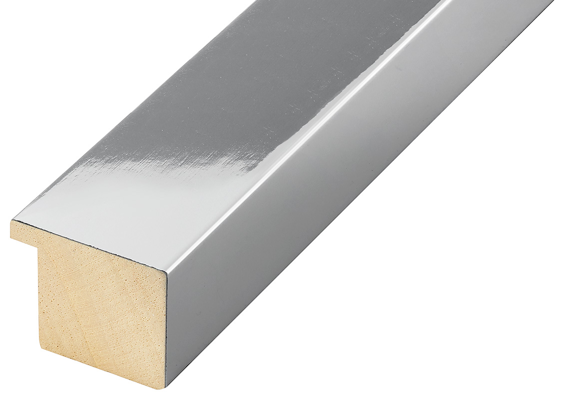 Moulding ayous, width 40mm height 32 - glossy silver