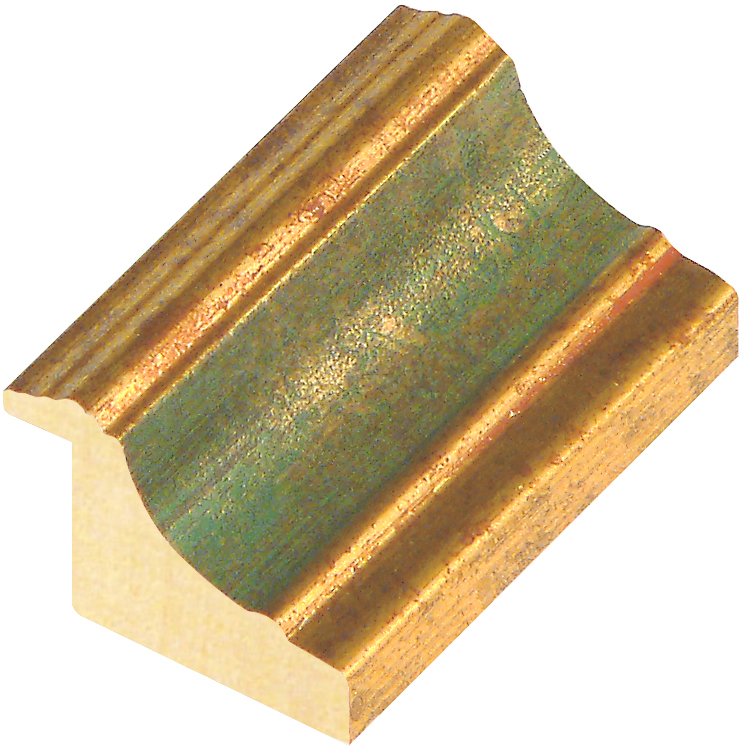 Moulding ayous, width 44mm, height 32, gold with green band