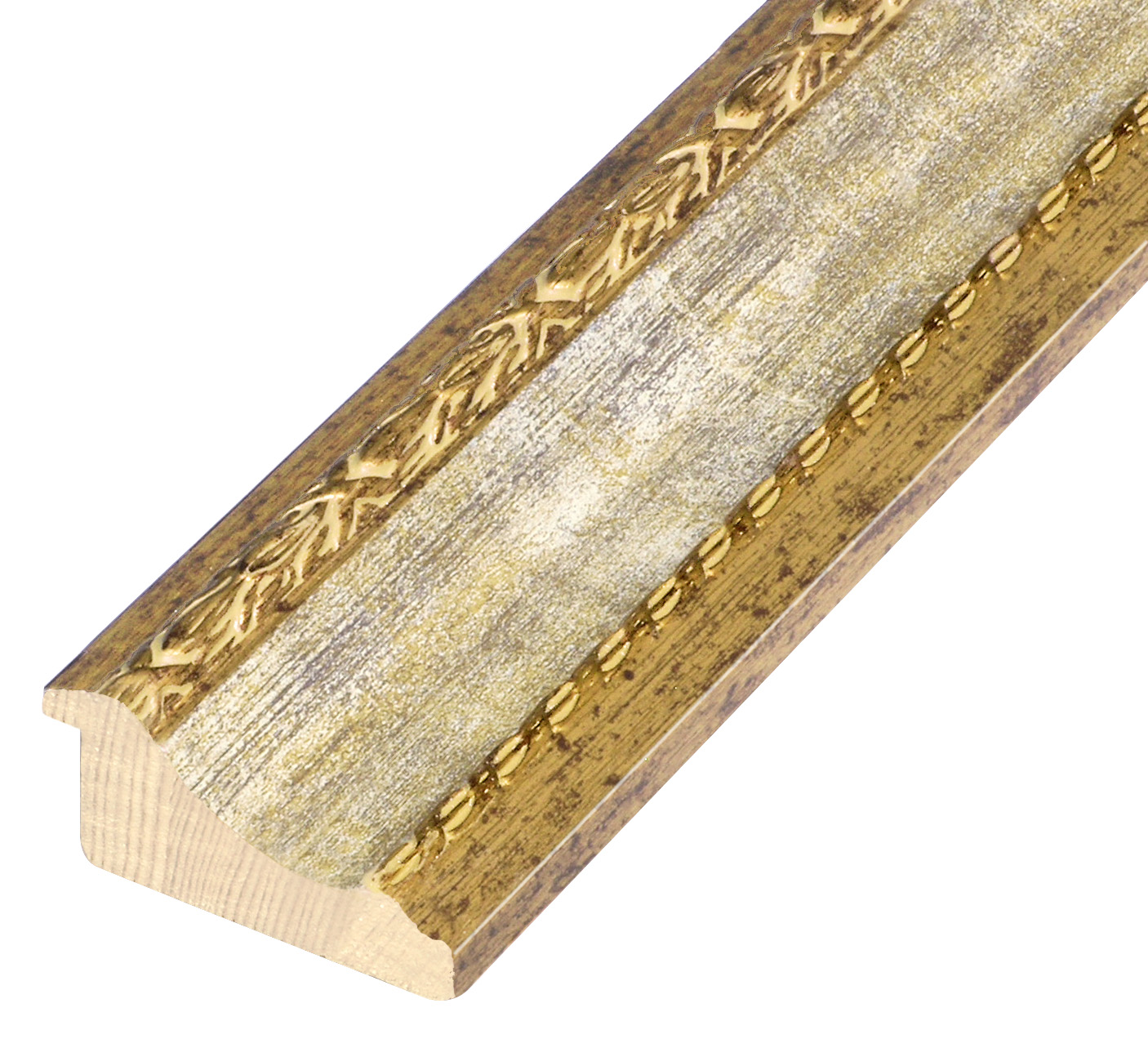 Moulding finger joint pine, width 68mm - gold, white band, decorations