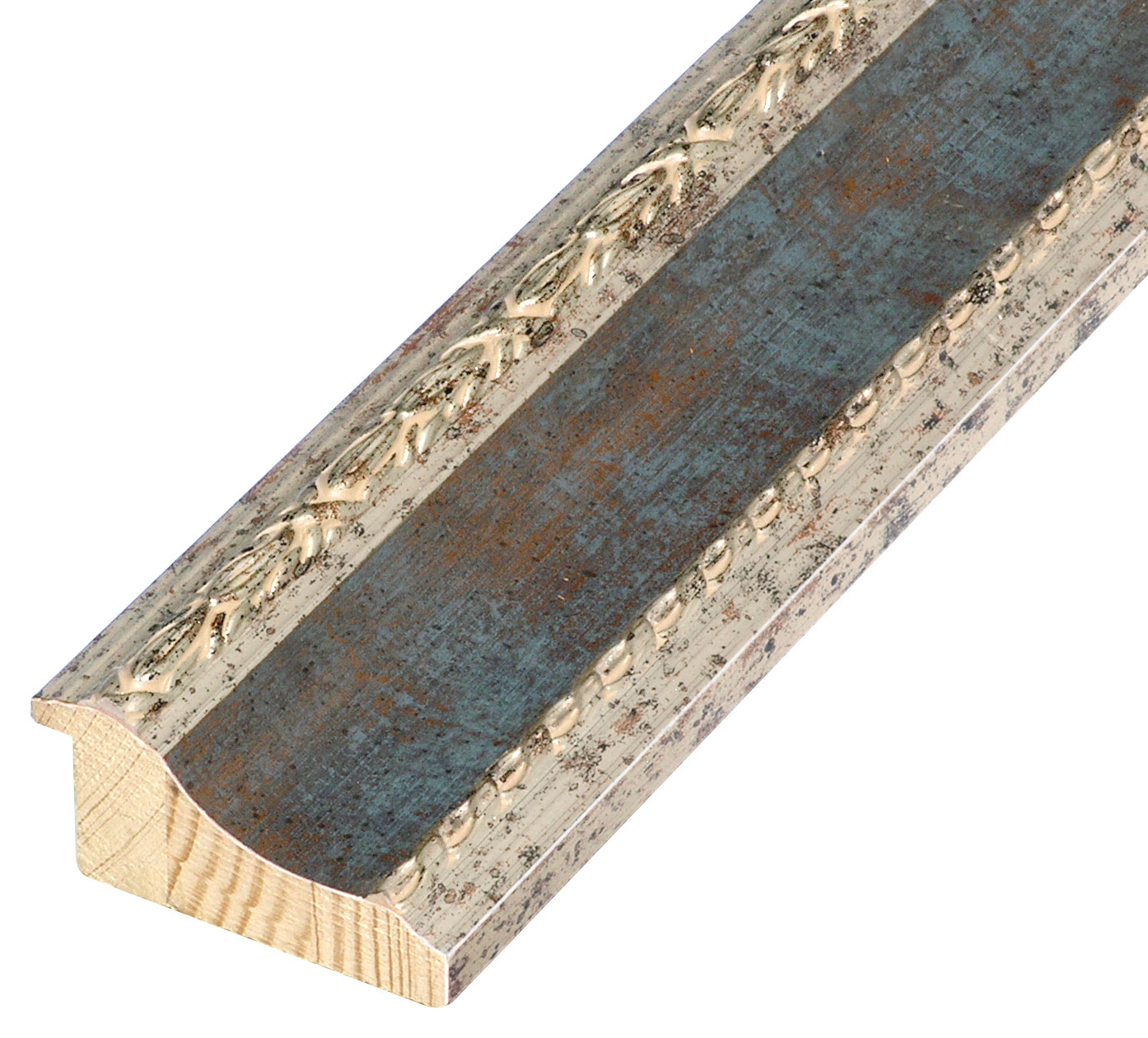 Moulding finger joint pine, width 68mm - silver, blue band, decorations band, decorations