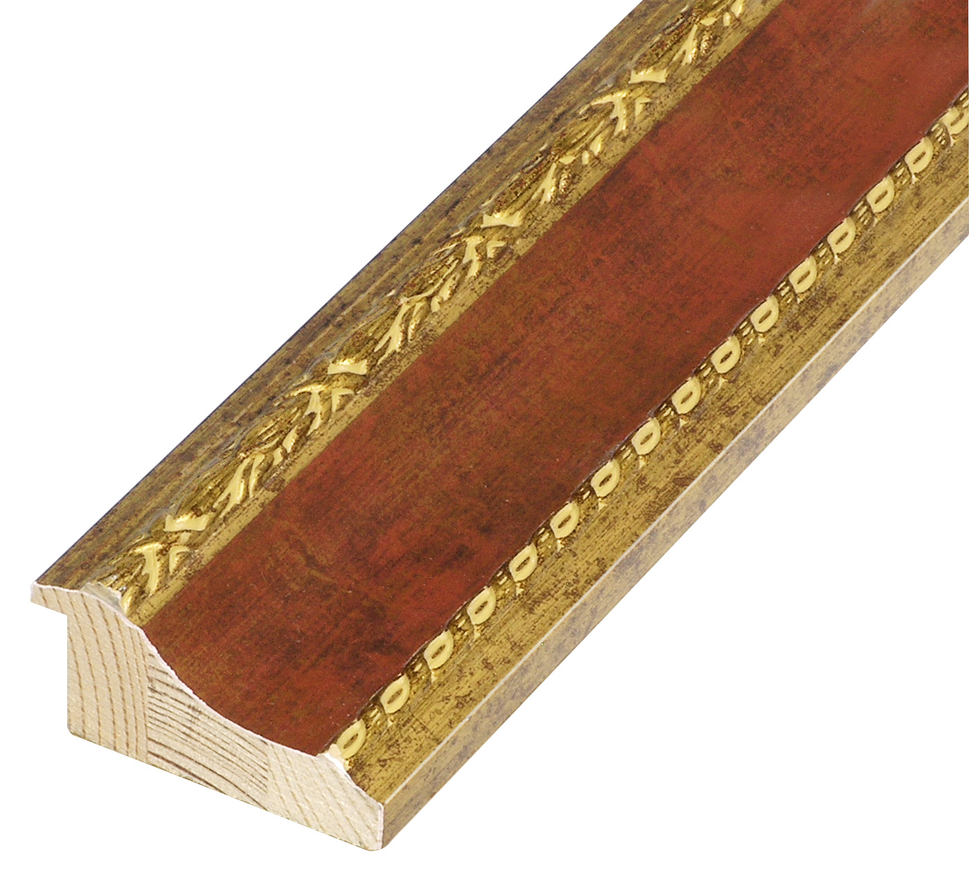 Moulding finger joint pine, width 68mm - gold, red band, decorations