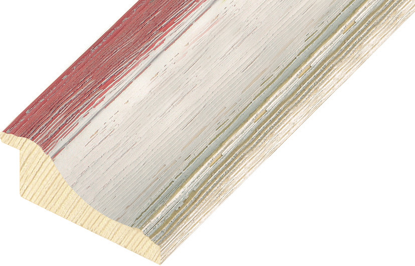 Moulding finger jointed pine Width 66mm - White-pink, shabby