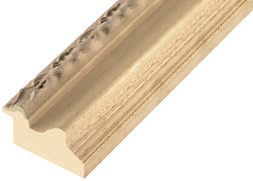 Moulding ayous, width 53 mm - embossed bare timber
