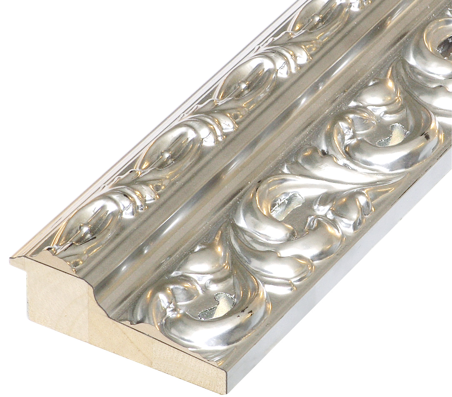 Moulding finger-joint pine Width 95mm - Silver