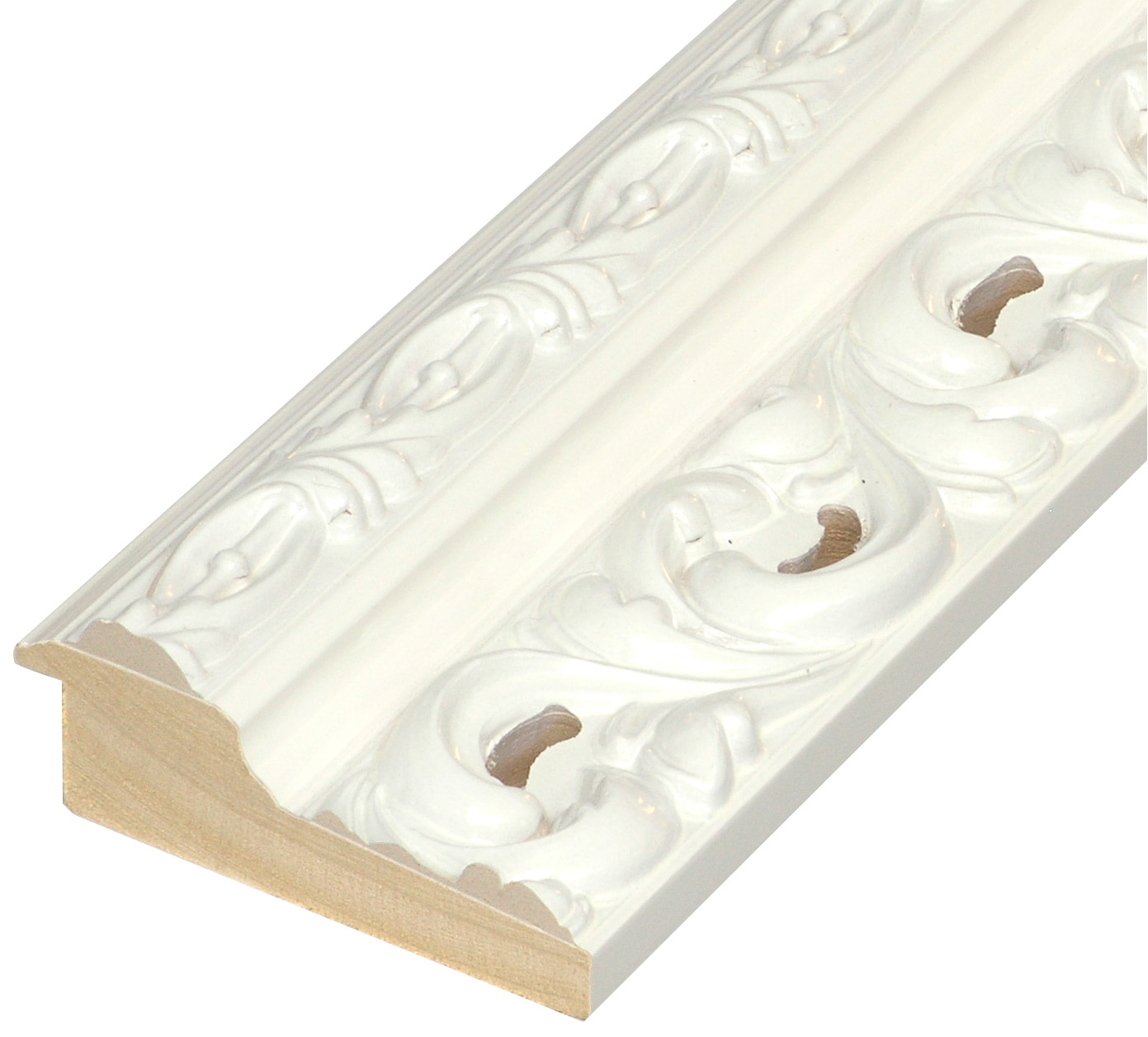 Moulding finger-joint pine Width 95mm - Glossy White