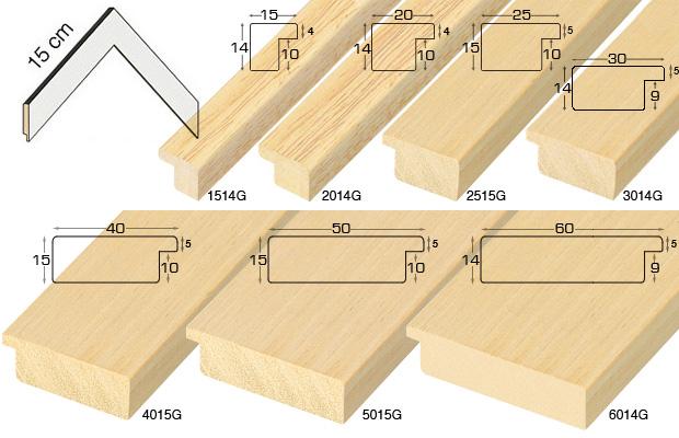 Complete set of corner samples of moulding 20 (9 pieces)