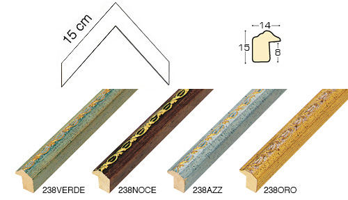 Complete set of corner samples of moulding 238 (4 pieces)