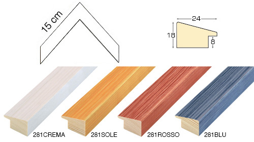 Complete set of corner samples of moulding 281 (5 pieces)