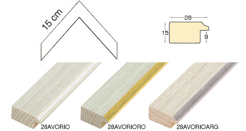 Complete set of corner samples of moulding 28 (3 pieces)