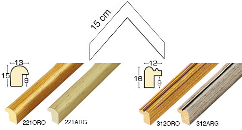 Complete set of corner samples of moulding 221 (4 pieces)
