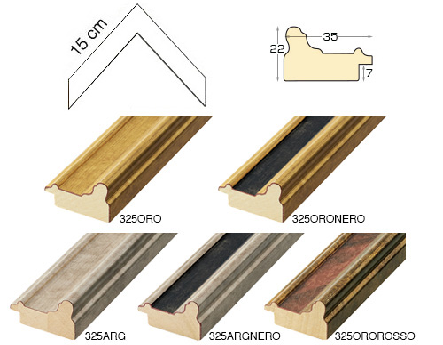 Complete set of corner samples of moulding 325 (5 pieces)