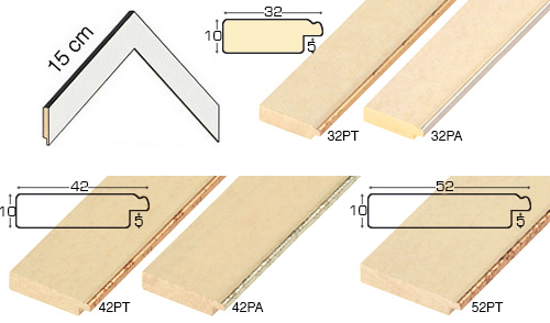 Complete set of corner samples of moulding 32 (5 pieces)