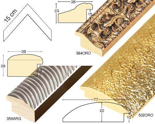 Complete set of corner samples of moulding 933 (3 pieces)