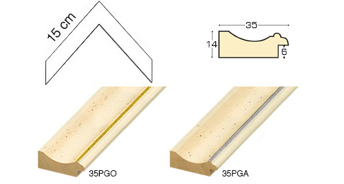 Complete set of corner samples of moulding 35 (2 pieces)