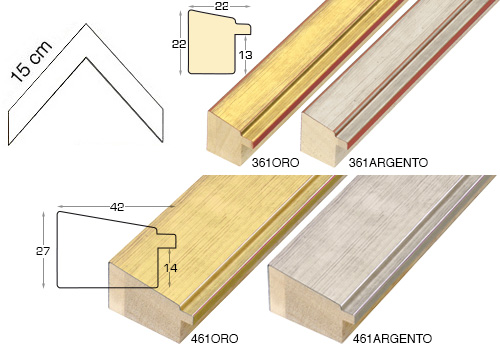 Complete set of corner samples of moulding 361 (4 pieces)