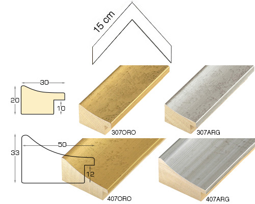 Complete set of corner samples of moulding 407 (4 pieces)