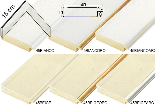 Complete set of corner samples of moulding 45 (6 pieces)