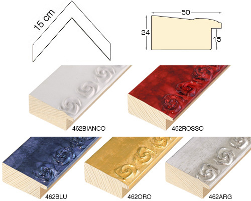 Complete set of corner samples of moulding 462 (3 pieces)