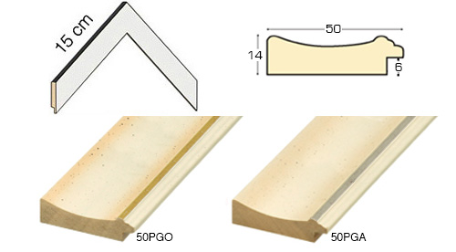 Complete set of corner samples of moulding 50 (2 pieces)